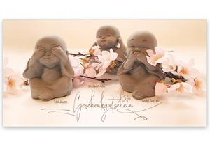 Gutscheinkarte Geschenkgutscheine Buddha Gutschein Klappkarten pos-hauer MA255 Massage Kosmetik Massagepraxis Massagegutschein Wellness Spa Kosmetikinstitut Naturheilkunde Physiotherapie